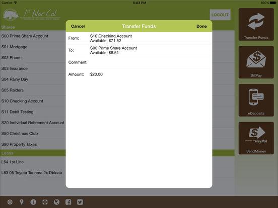 Contra Costa Federal Credit Union Mobile iPad Screenshot 3