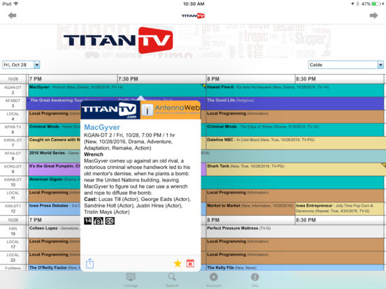 TitanTV for iPhone iPad Screenshot 2
