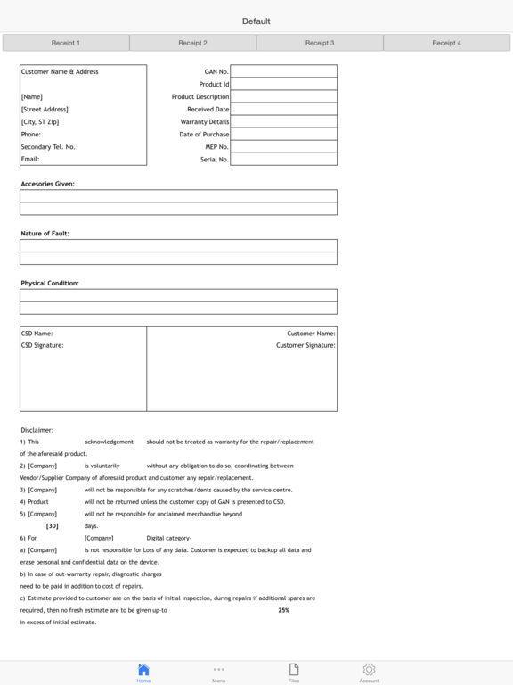 Service Order Screenshots