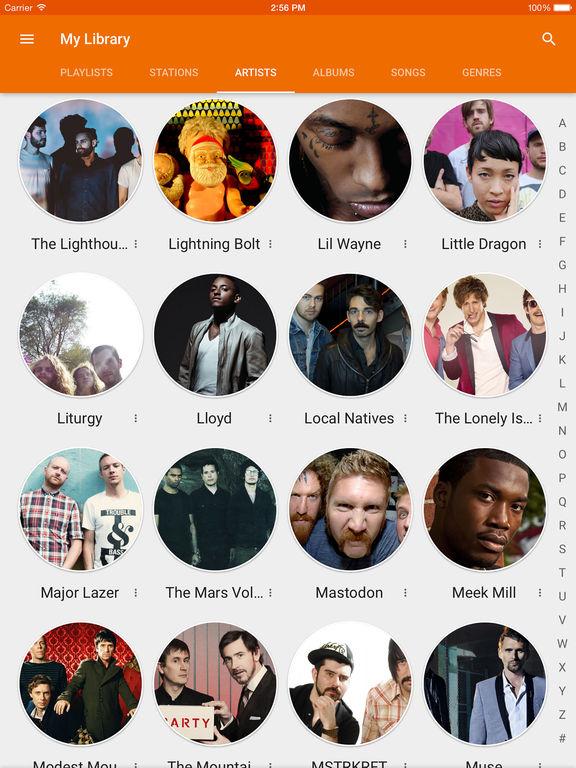 Screenshots of Google Play Music for iPad
