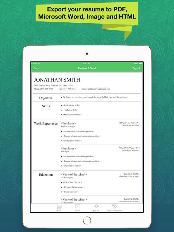 app shopper resume apex pro professional cv maker