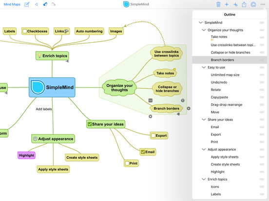 SimpleMind - mindmapping iPad Screenshot 2