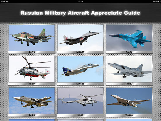 Russian Military Aircraft Appreciate Guide iPad Screenshot 1