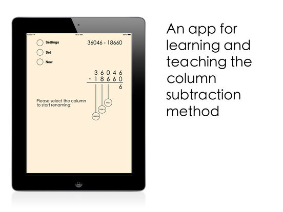 Column Subtraction Screenshots