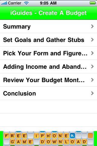 iGuides - Create A Budget screenshot #2