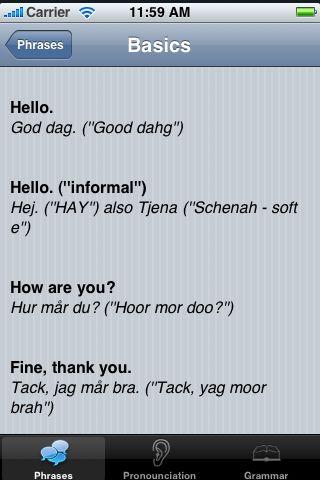 iTrek! - Swedish Phrasebook screenshot #3