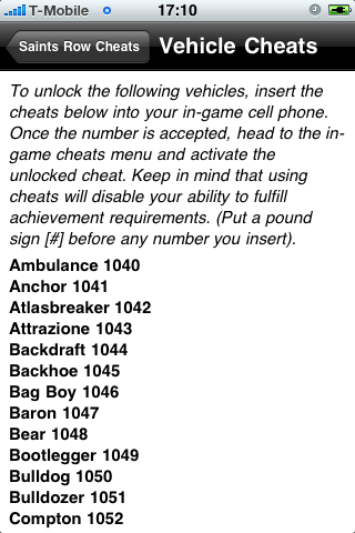 Saints Row 2 Cheat codes (iPhone) reviews at iPhone Quality