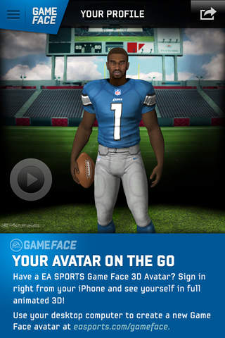 EA SPORTS Game Face 3D Avatar screenshot 1