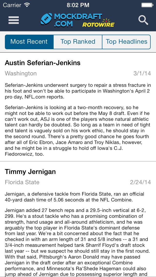 Football Mock Draft 2014 screenshot 3