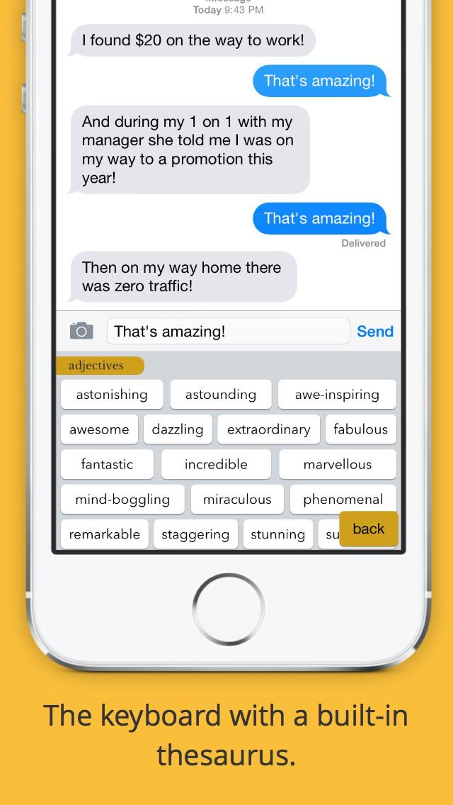 Hemingboard: Synonyms,Rhymes,Puns in Your Keyboard screenshot 1