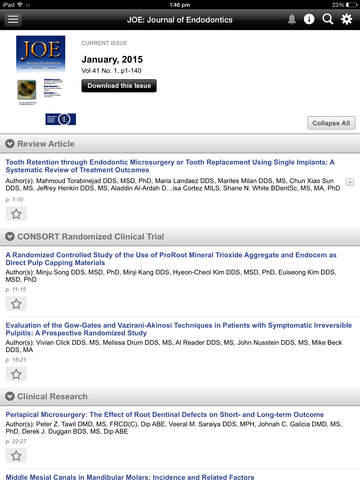 JOE: Journal of Endodontics screenshot 9