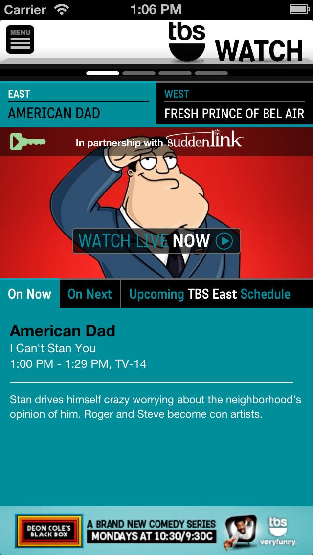 WATCH TBS for iPhone screenshot 1