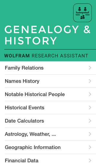 Wolfram Genealogy & History Research Assistant screenshot 1