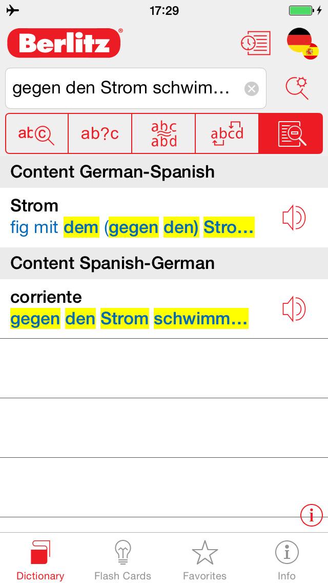 German - Spanish Berlitz Basic Talking Dictionary screenshot 2