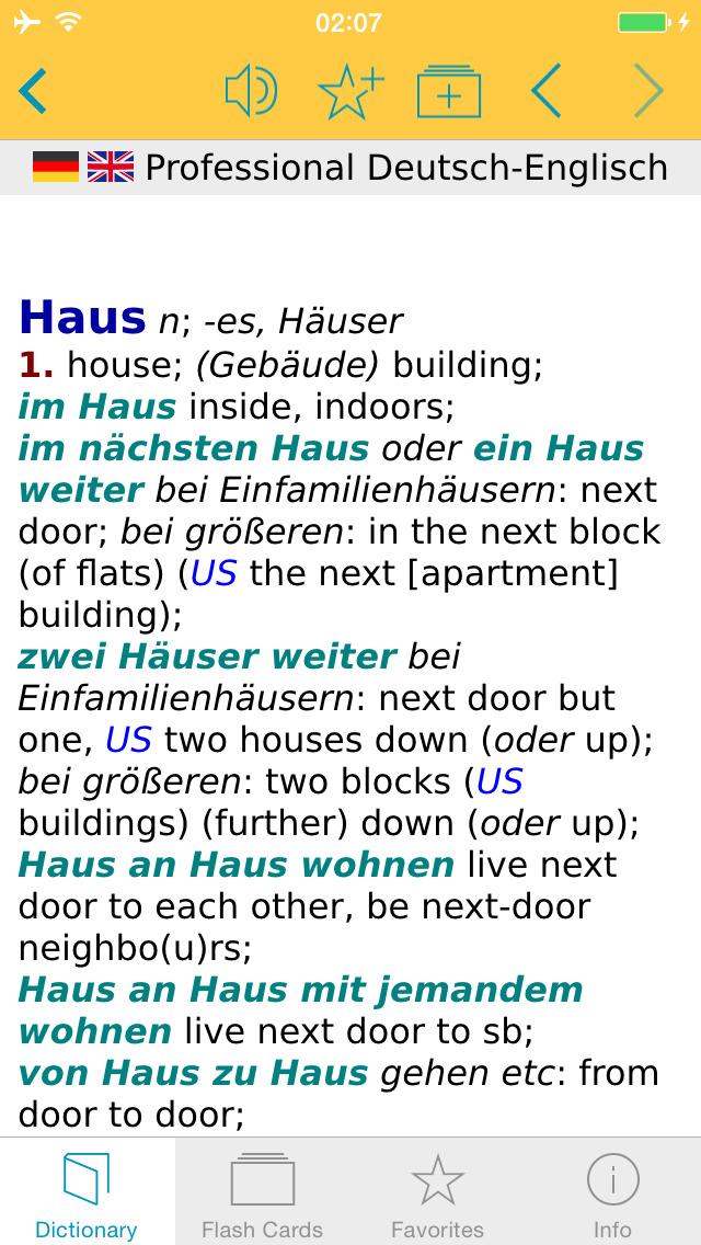 German English XL Dictionary screenshot 1