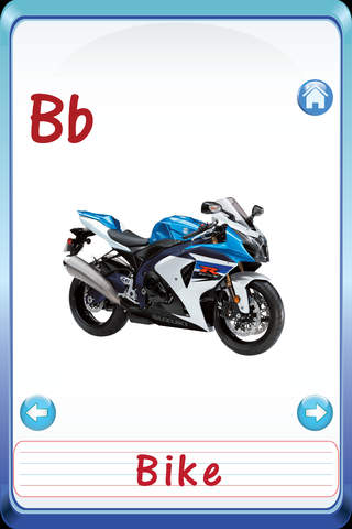 Kids Vehicles ABC Alphabets Flash Cards - náhled