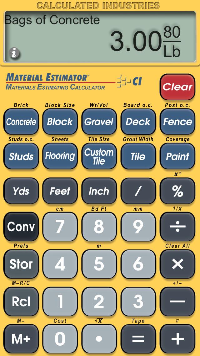 Material Estimator Calculator screenshot 1