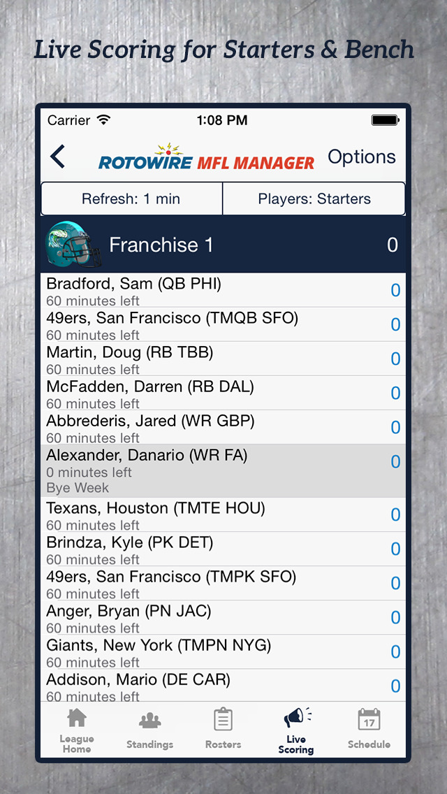 MyFantasyLeague Manager 2015 by RotoWire screenshot 2