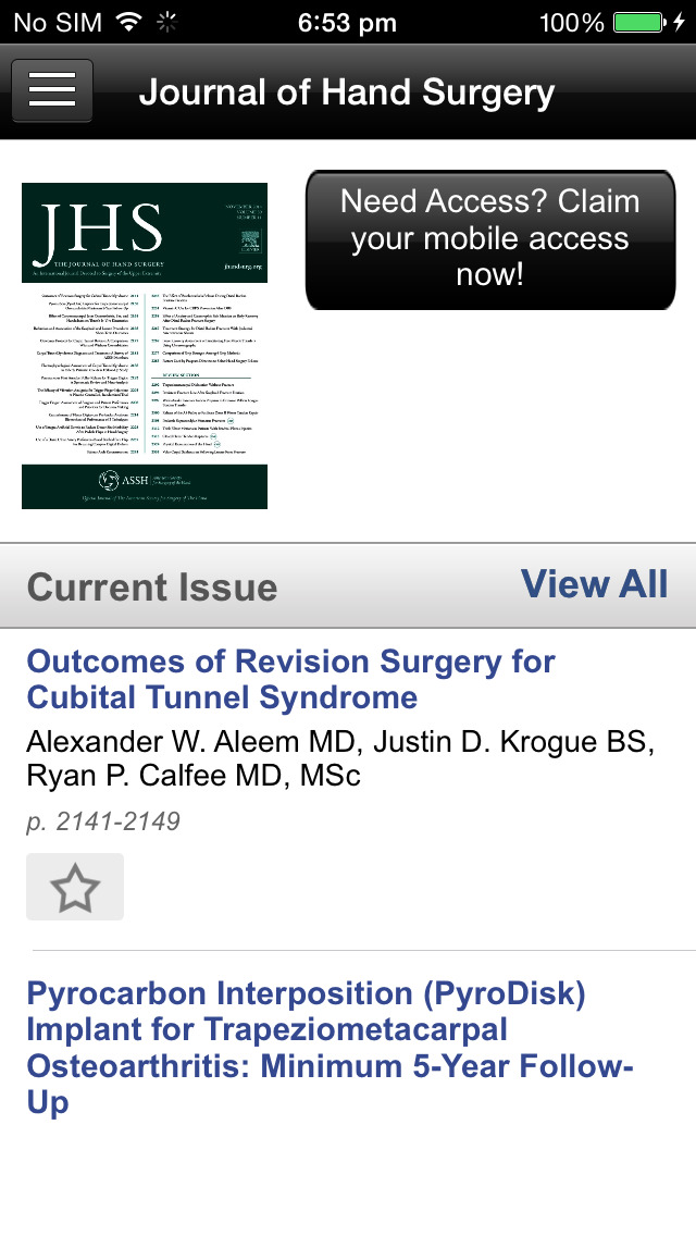 Journal of Hand Surgery screenshot 4