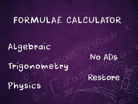 Formulae Calculator HD screenshot 1