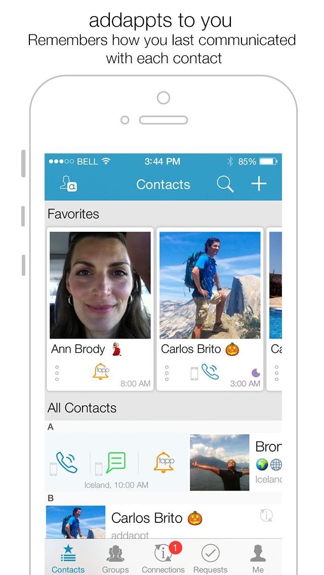 addappt: Live Contacts+Weather screenshot 1