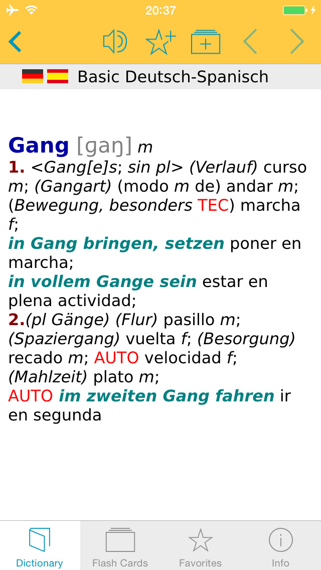 Spanish <-> German Talking Dictionary Basic screenshot 1