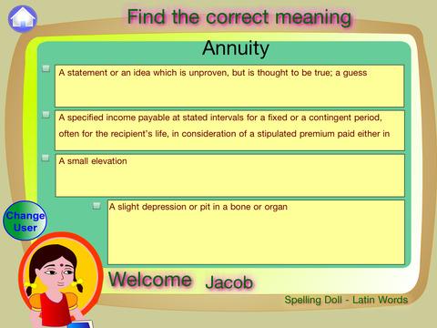 Spelling Doll English Words From Greek Vocabulary Quiz Grammar screenshot 9