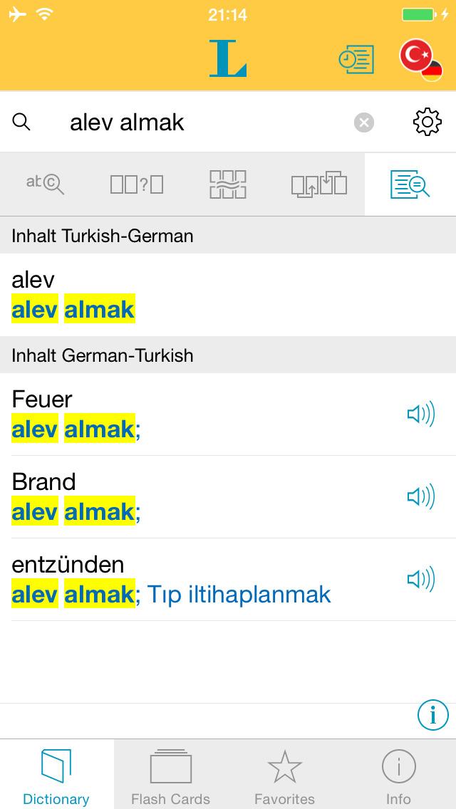 Turkish <-> German Dictionary Basic screenshot 2
