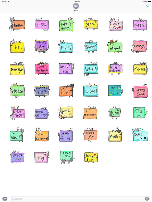 English Message With Cats Sticker screenshot 4