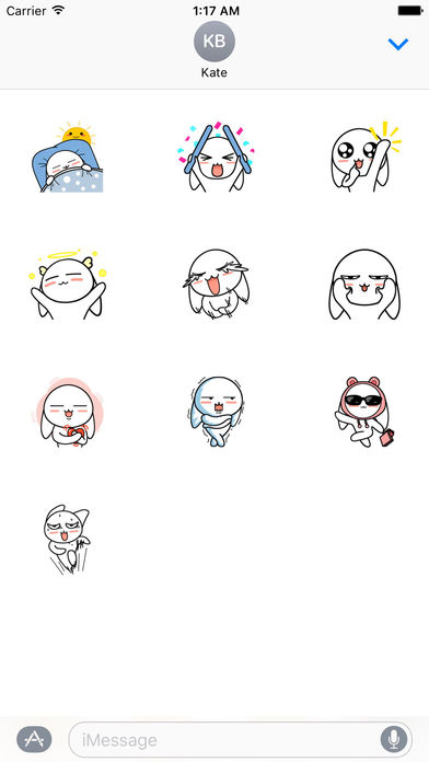 My Lovely White Bunny Stickers screenshot 3