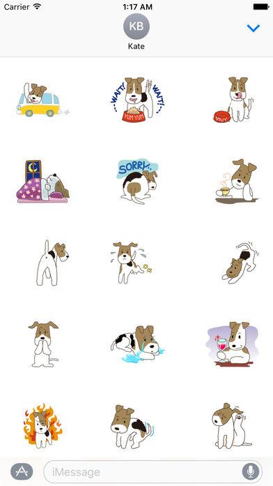 Cute Wire Fox Terrier Dog Stickers Pack screenshot 2