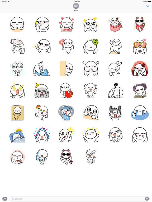 My Lovely White Bunny Stickers screenshot 4