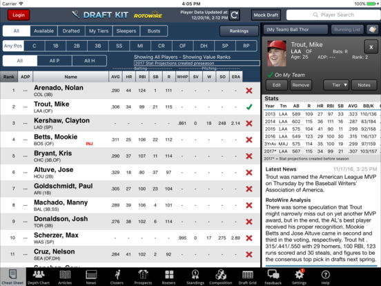RotoWire Fantasy Baseball Draft Kit 2017 screenshot 6