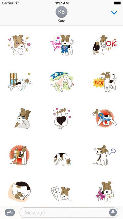 Cute Wire Fox Terrier Dog Stickers Pack screenshot 1