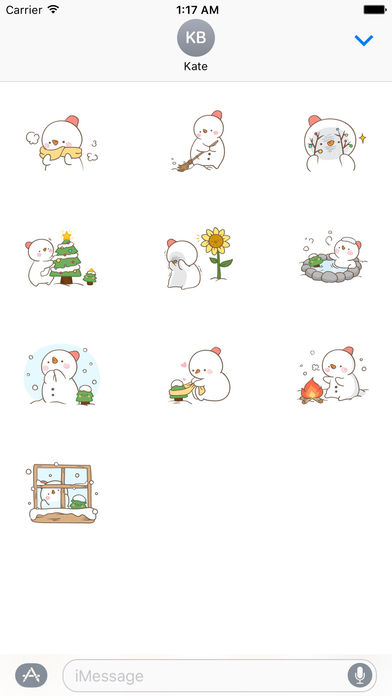 Big Snowman And Cute Christmas Tree Stickers screenshot 3