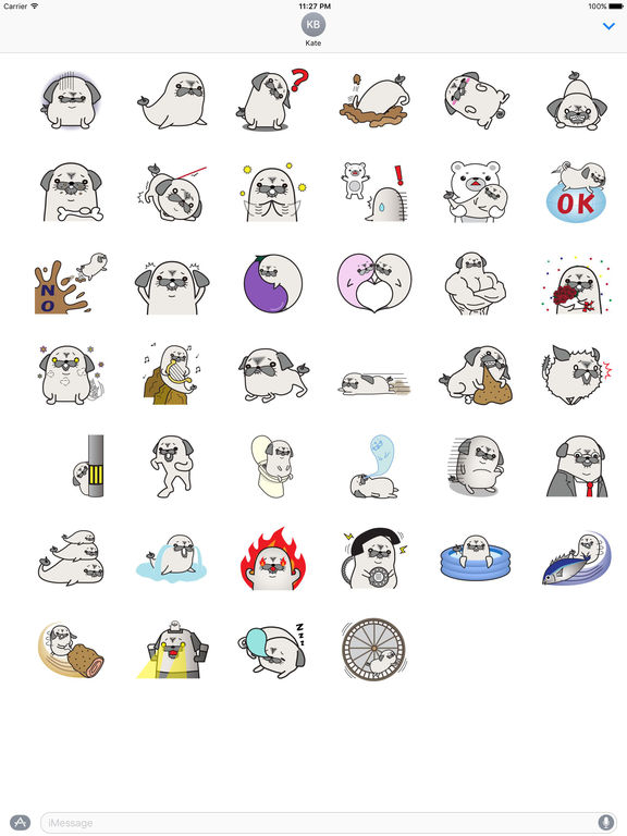 Pug Dog And Sea Dog Sticker screenshot 4