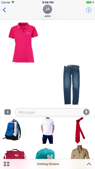 Clothing Stickers for iMessage screenshot 1