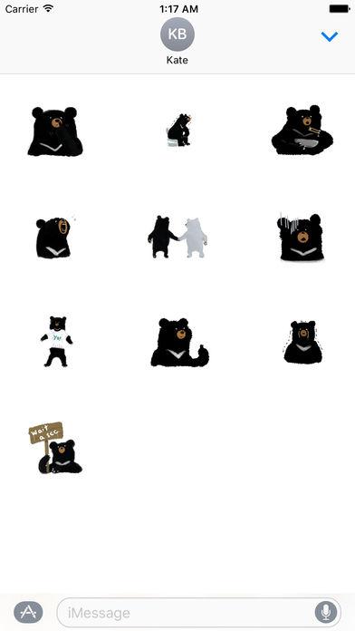 Cute Black Bear Sticker screenshot 3