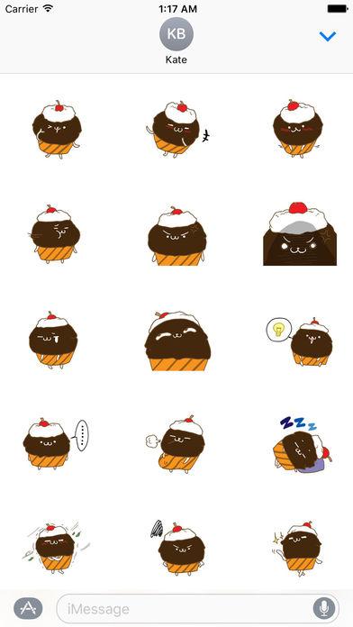 Cute Chocolate Cupcake Sticker screenshot 2