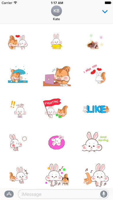 Animated Happy Rabbit and Squirrel Stickers screenshot 1