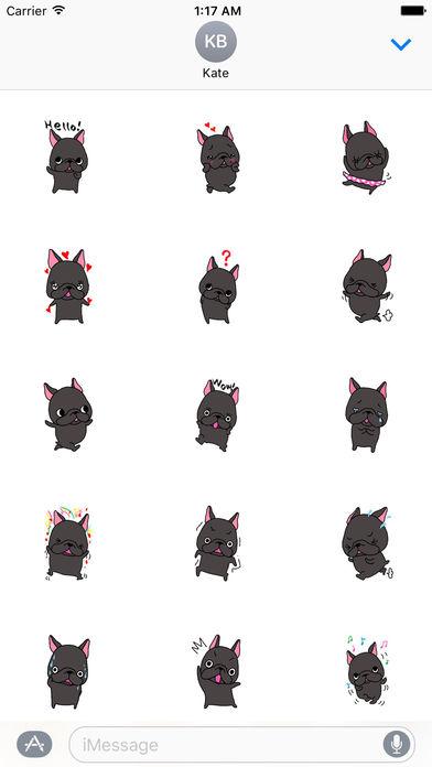 Lovely Black French Bulldog Sticker screenshot 1