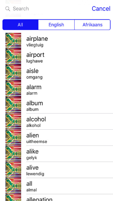 Afrikaans Dictionary GoldEdition screenshot 3