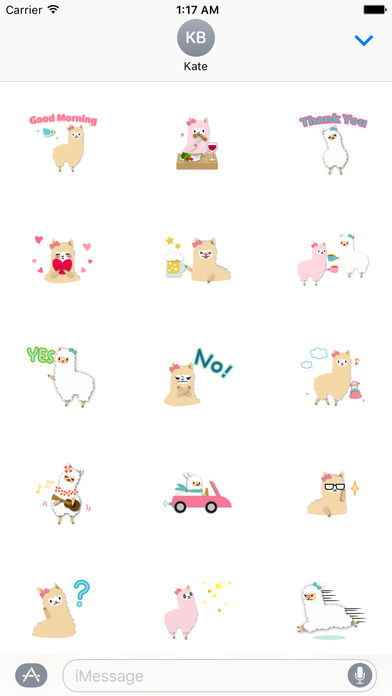 Adorable Alpaca Emoji Sticker screenshot 1