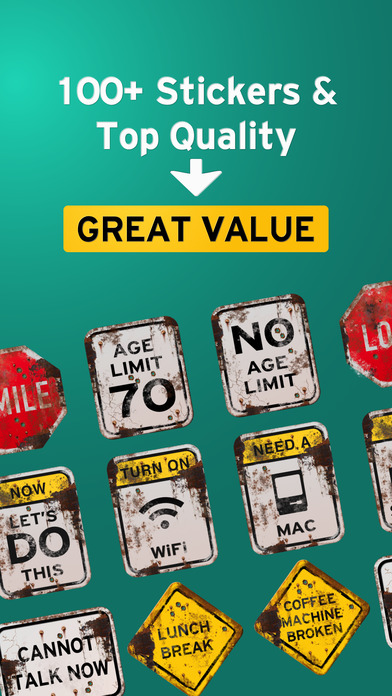 100+ Aged Funny Signs Sticker Pack (Rusty) screenshot 3