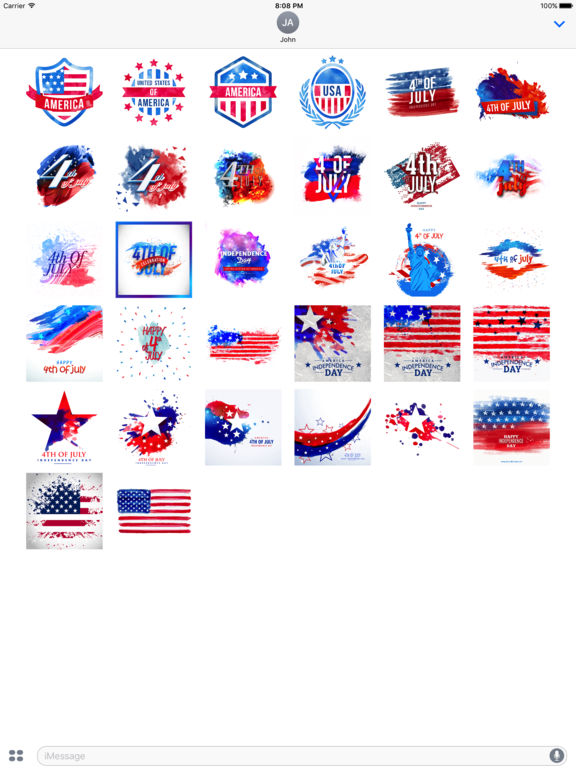 4th of July - Watercolor Independence Day Stickers screenshot 4