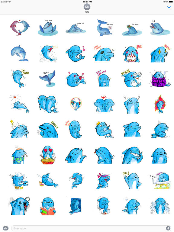 Watercolor Funny Dolphin Sticker screenshot 5
