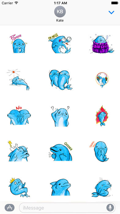Watercolor Funny Dolphin Sticker screenshot 2