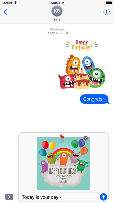 Birthdaye Card - Best Wishes with Cute Monsters screenshot 2