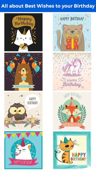 Birthday Card - Best Wishes with Cute Animals screenshot 1