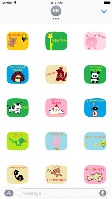American Slang with Cute Animals Sticker screenshot 1
